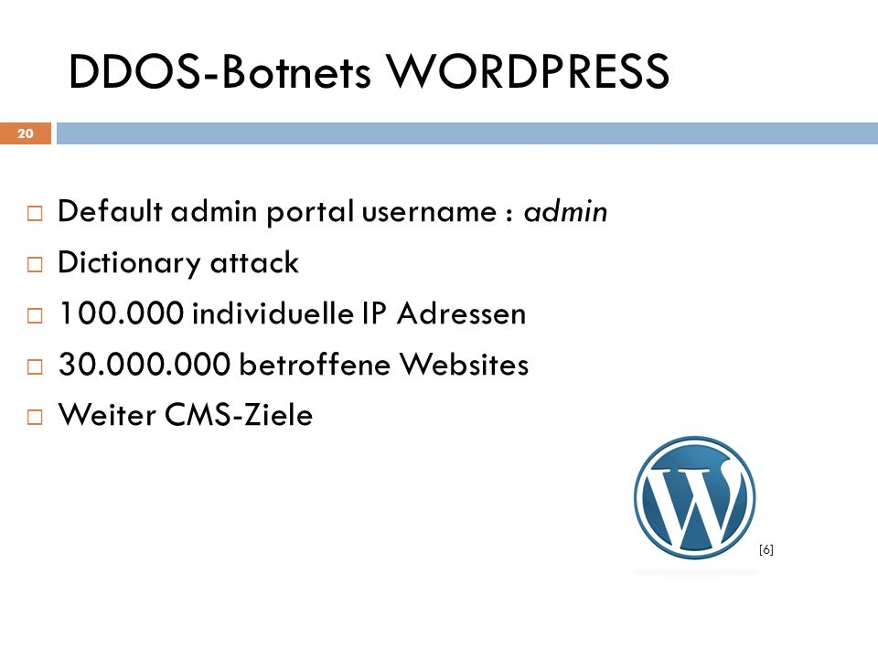DDOS-Botnets WORDPRESS