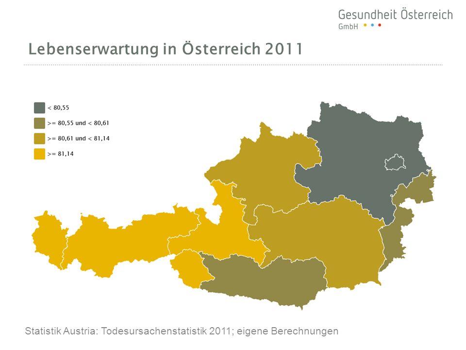 Lebenserwartung in Österreich 2011