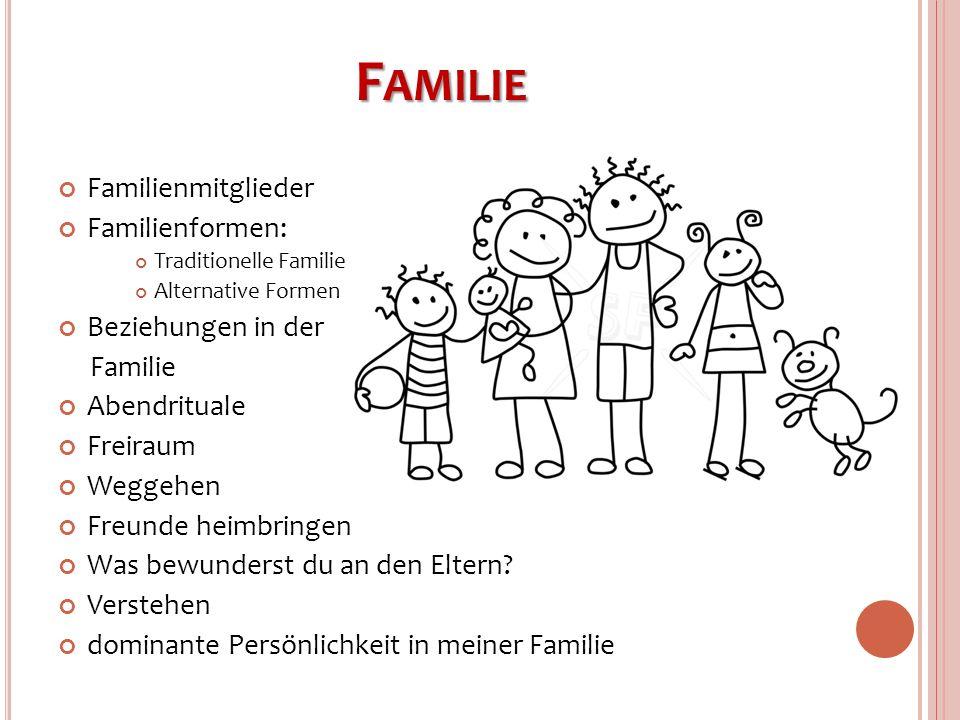 Familie Familienmitglieder Familienformen: Beziehungen in der Familie