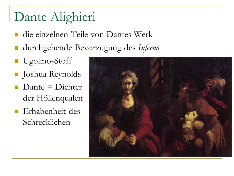 Dante Alighieri die einzelnen Teile von Dantes Werk