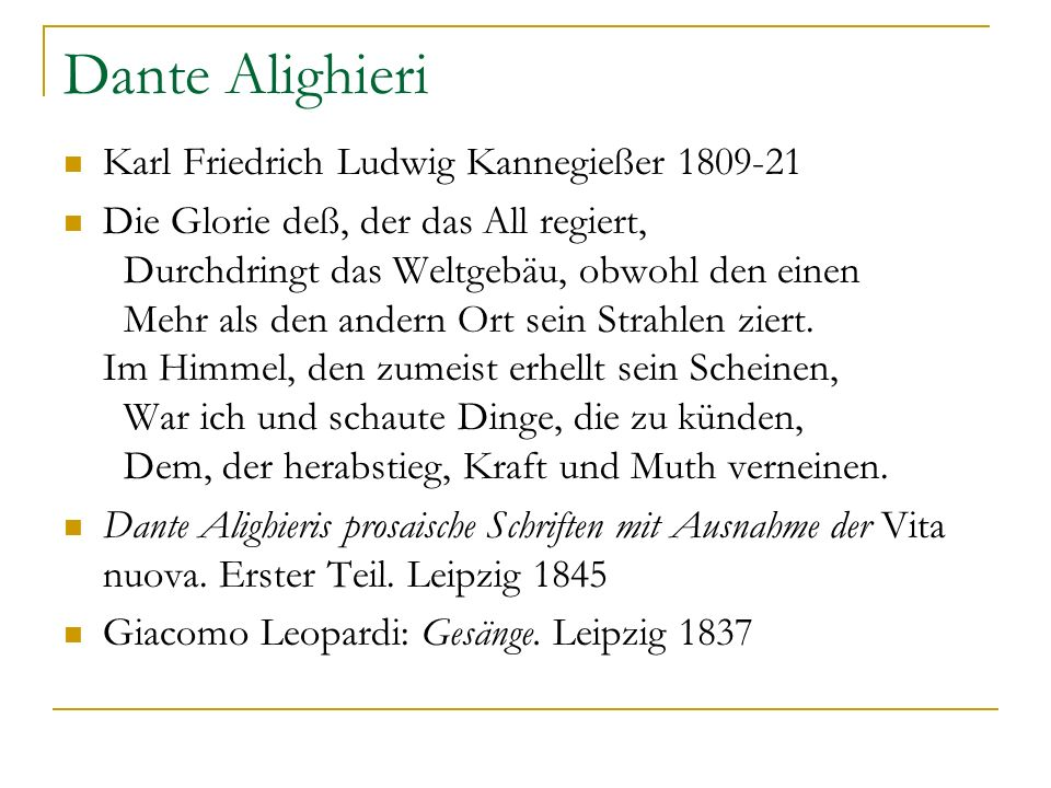 Dante Alighieri Karl Friedrich Ludwig Kannegießer 1809-21
