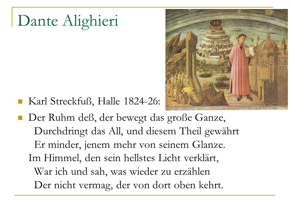 Dante Alighieri Karl Streckfuß, Halle 1824-26: