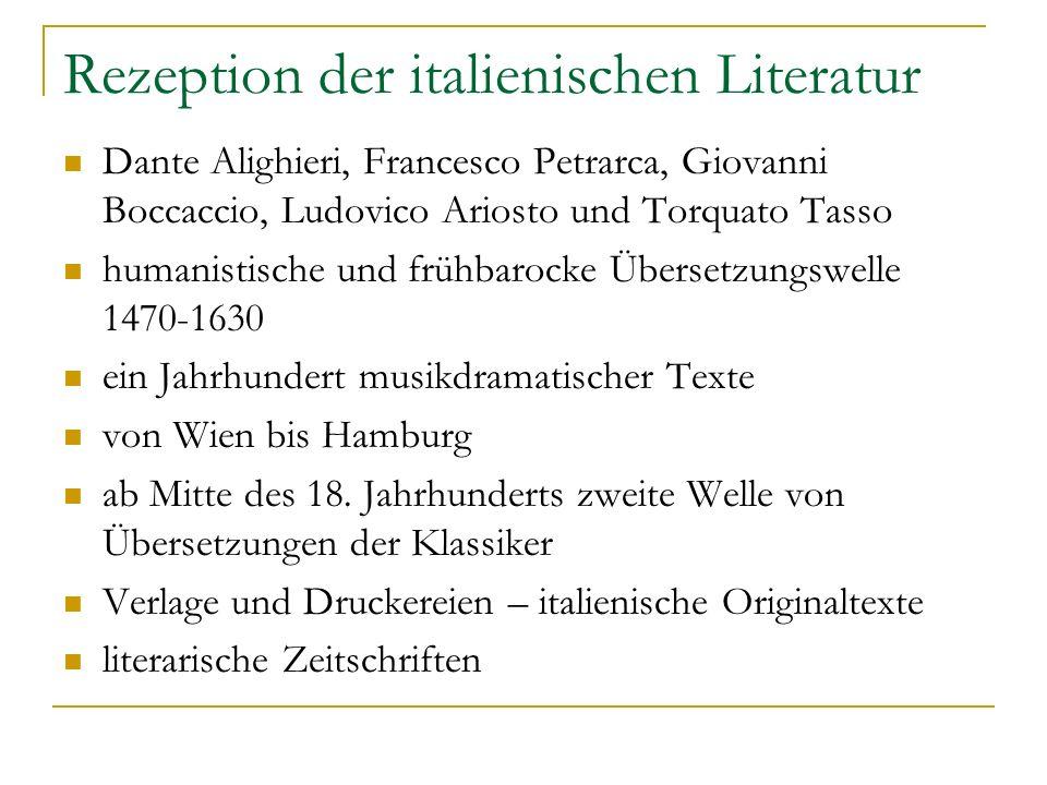 Rezeption der italienischen Literatur