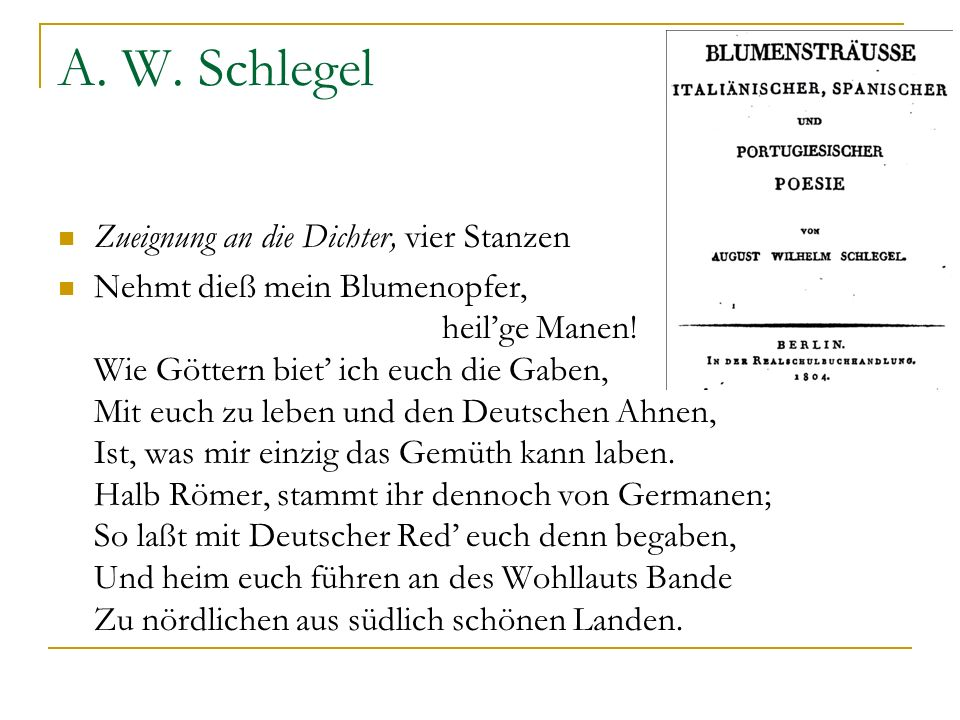 A. W. Schlegel Zueignung an die Dichter, vier Stanzen