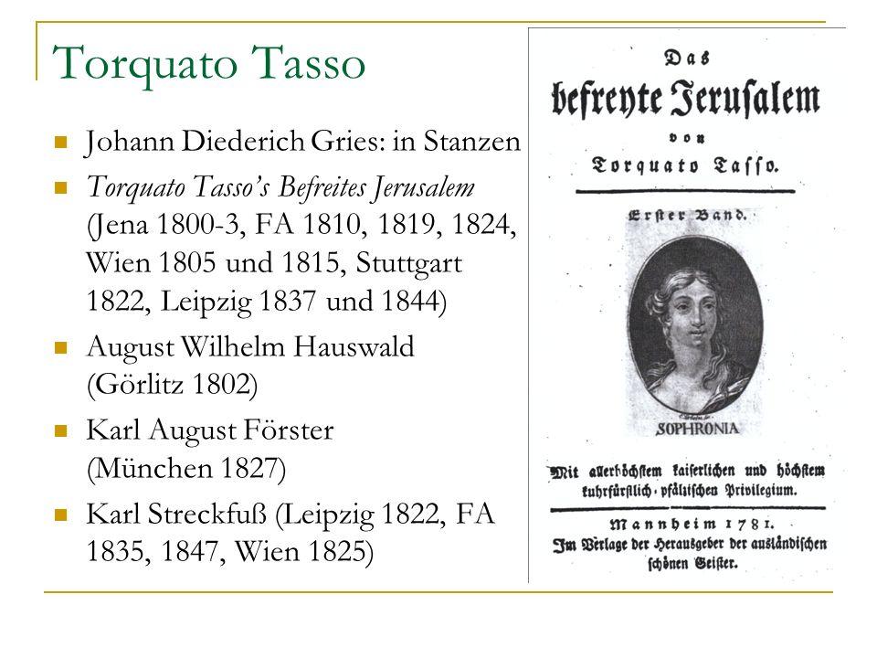 Torquato Tasso Johann Diederich Gries: in Stanzen