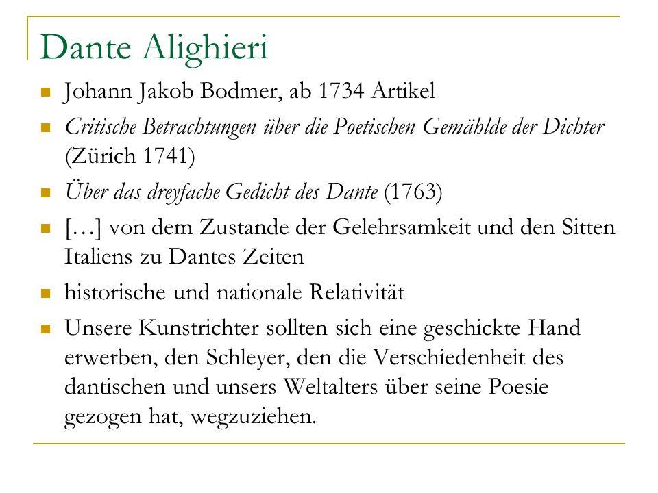 Dante Alighieri Johann Jakob Bodmer, ab 1734 Artikel
