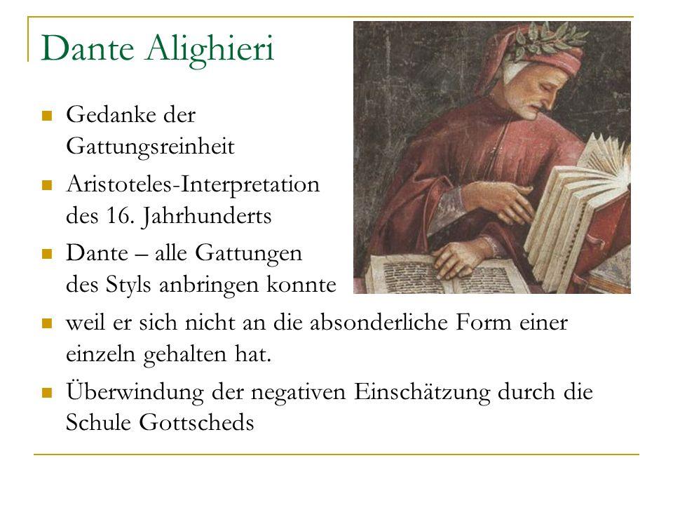 Dante Alighieri Gedanke der Gattungsreinheit