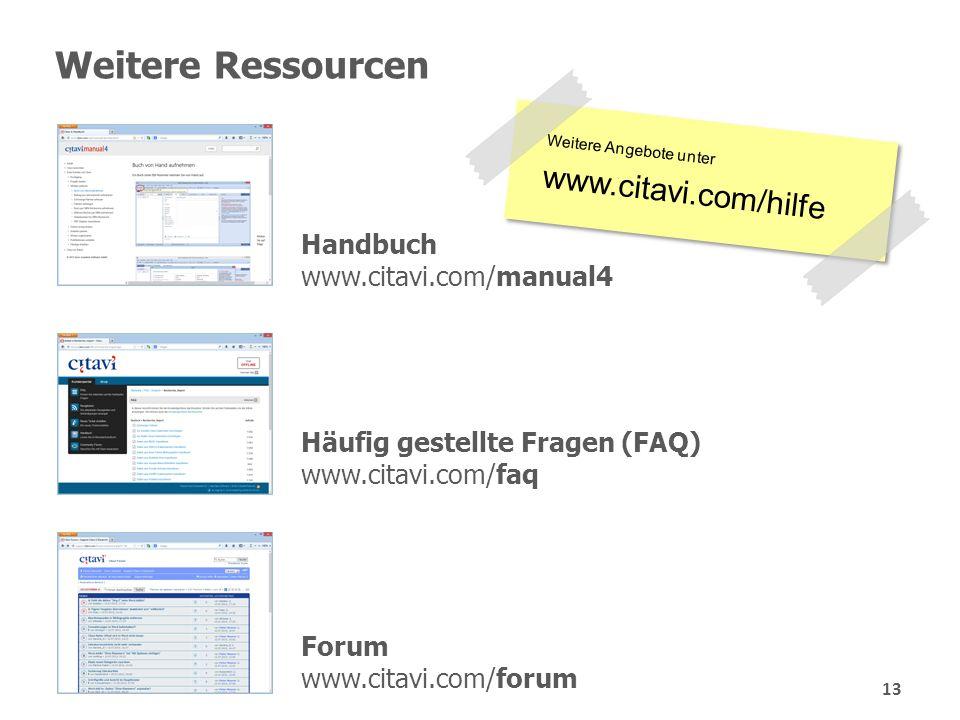 Weitere Ressourcen www.citavi.com/hilfe