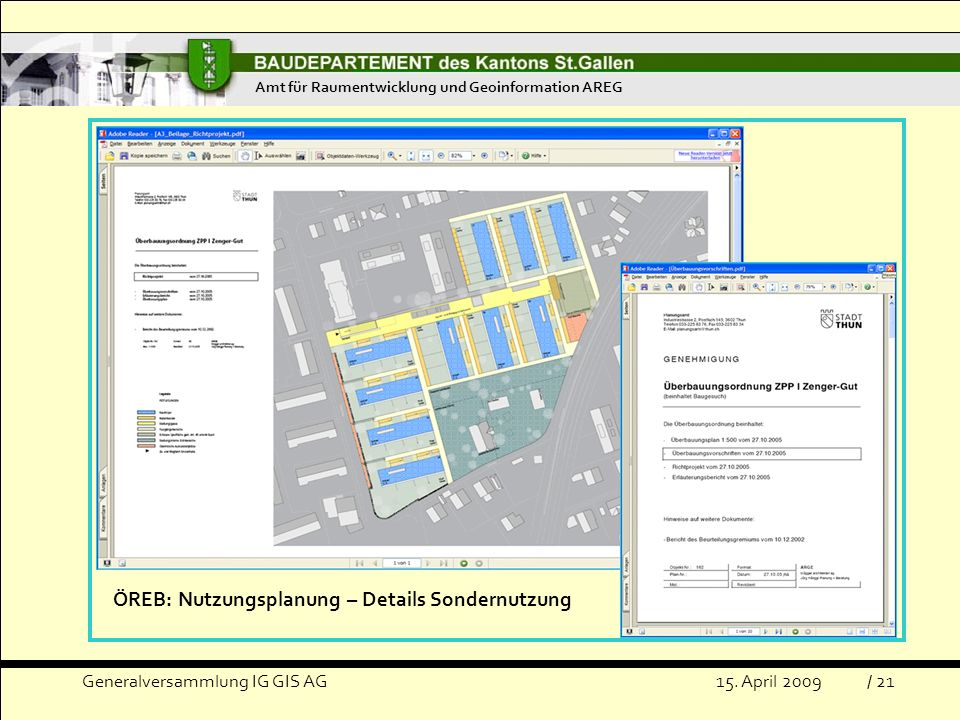 ÖREB: Nutzungsplanung – Details Sondernutzung