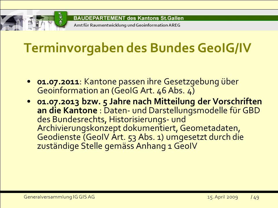 Terminvorgaben des Bundes GeoIG/IV