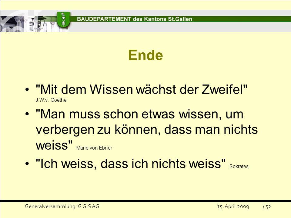 Ende Mit dem Wissen wächst der Zweifel J.W.v. Goethe