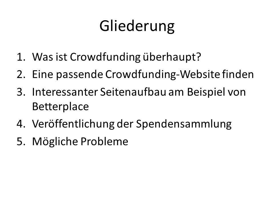 Gliederung Was ist Crowdfunding überhaupt