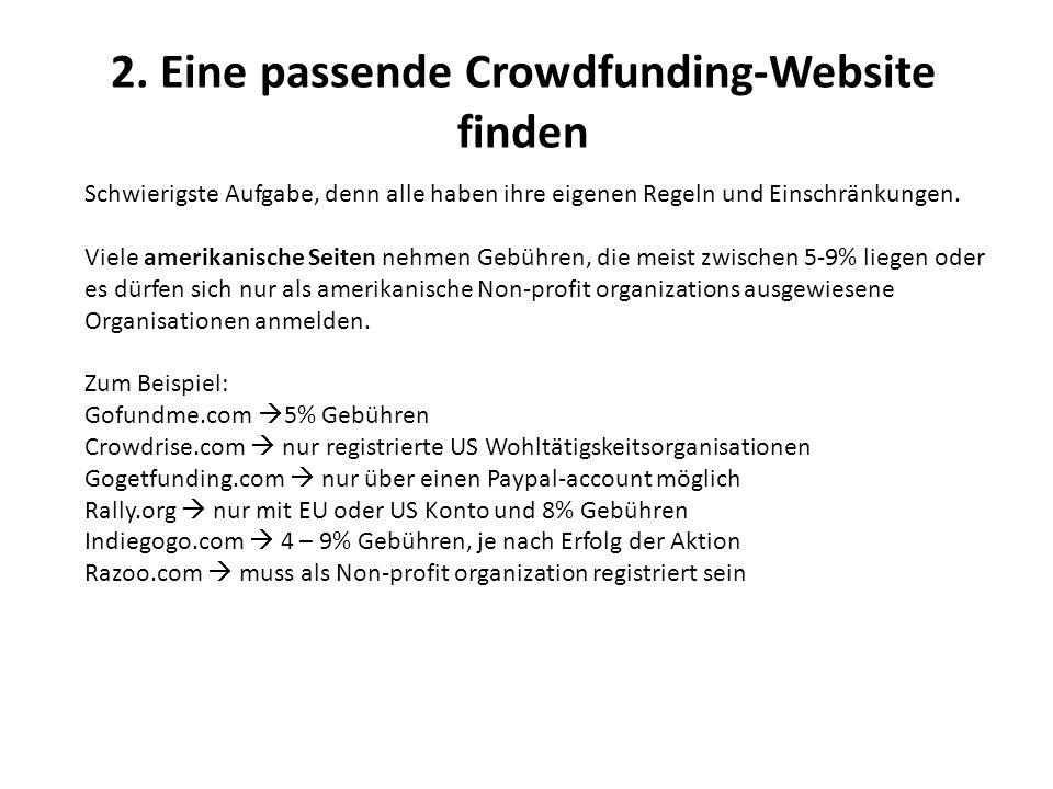 2. Eine passende Crowdfunding-Website finden