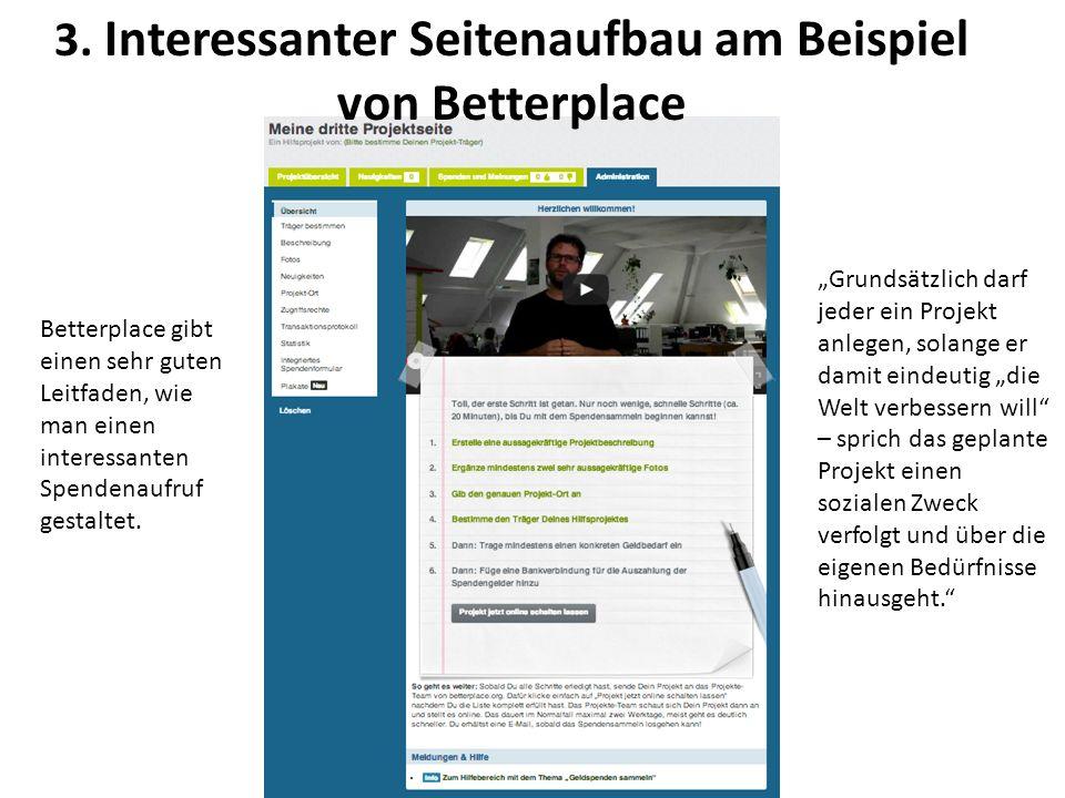 3. Interessanter Seitenaufbau am Beispiel von Betterplace