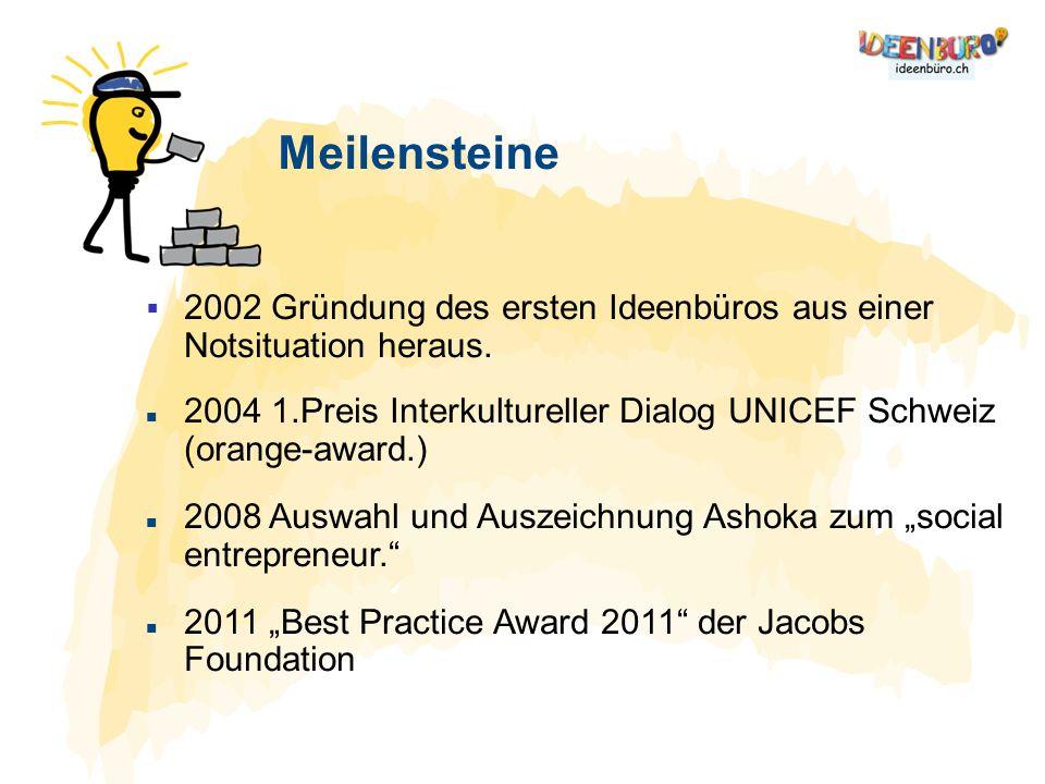 Meilensteine 2002 Gründung des ersten Ideenbüros aus einer Notsituation heraus. 2004 1.Preis Interkultureller Dialog UNICEF Schweiz (orange-award.)