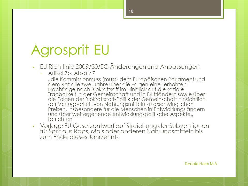 Agrosprit EU EU Richtlinie 2009/30/EG Änderungen und Anpassungen