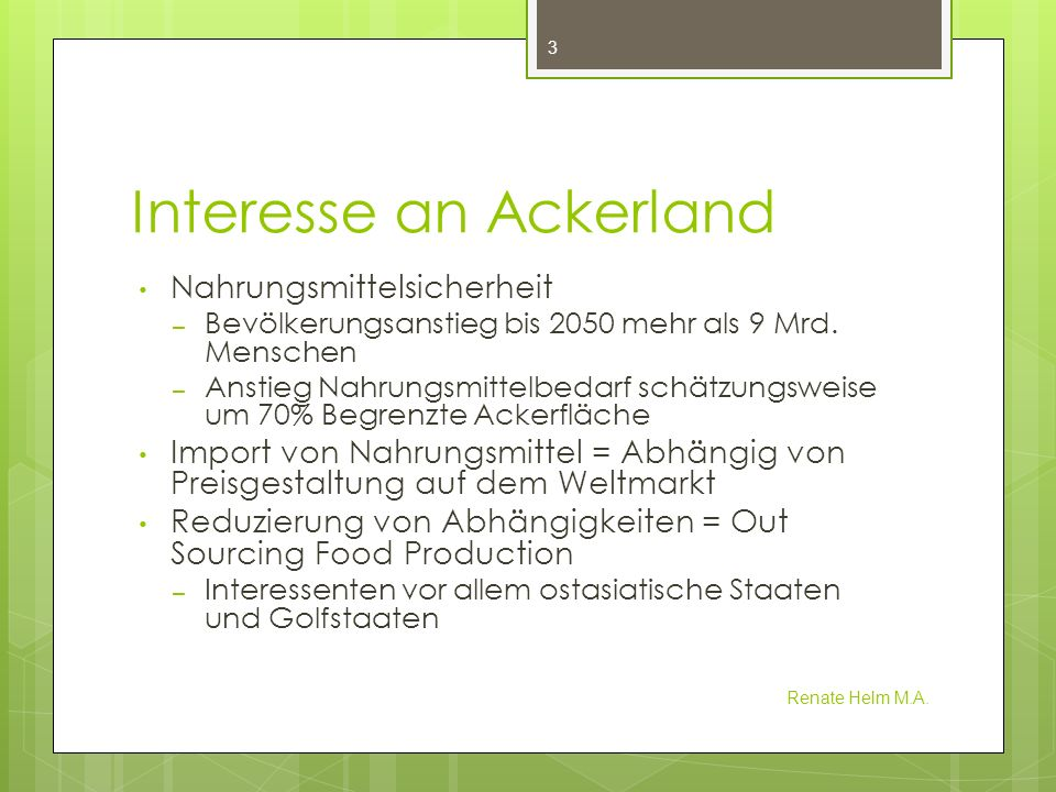 Interesse an Ackerland