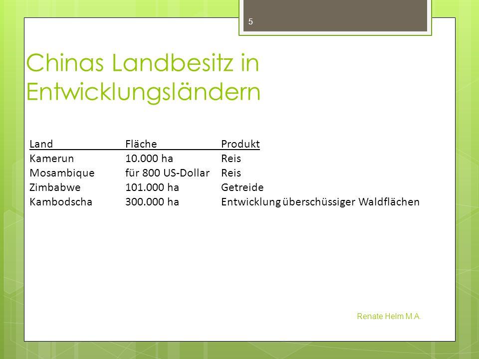 Chinas Landbesitz in Entwicklungsländern