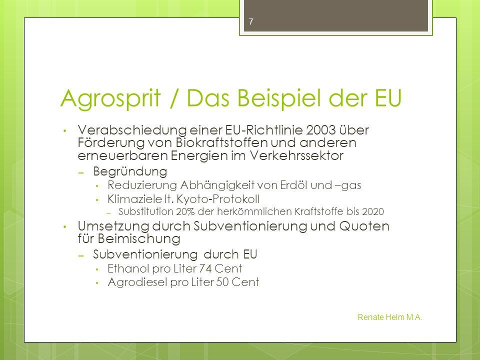 Agrosprit / Das Beispiel der EU