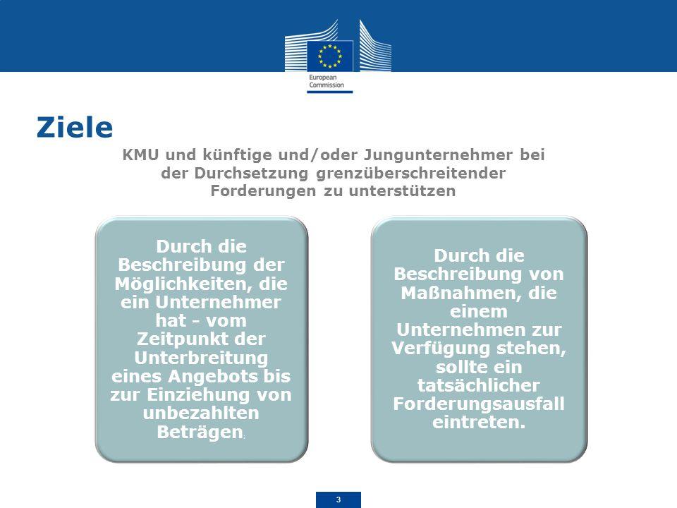 Ziele KMU und künftige und/oder Jungunternehmer bei der Durchsetzung grenzüberschreitender Forderungen zu unterstützen.
