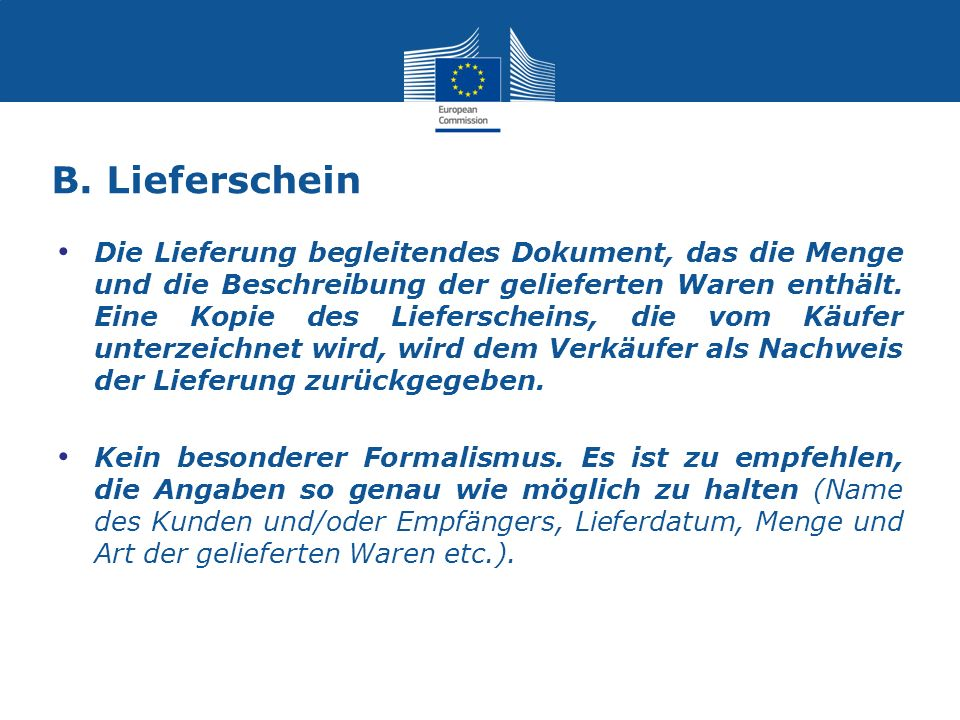 B. Lieferschein