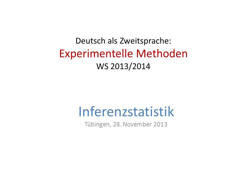 Deutsch als Zweitsprache: Experimentelle Methoden WS 2013/2014
