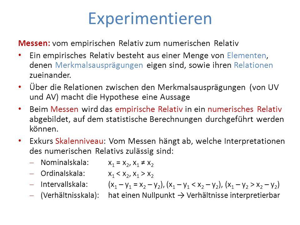 Experimentieren Messen: vom empirischen Relativ zum numerischen Relativ.