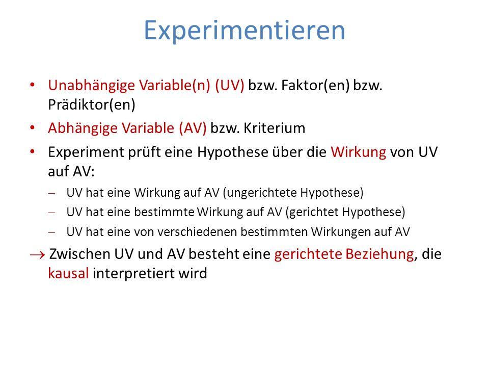 ExperimentierenUnabhängige Variable(n) (UV) bzw. Faktor(en) bzw. Prädiktor(en) Abhängige Variable (AV) bzw. Kriterium.