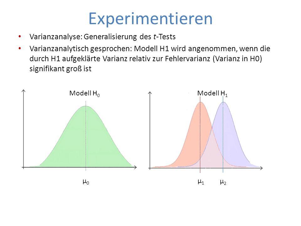 Experimentieren Varianzanalyse: Generalisierung des t-Tests