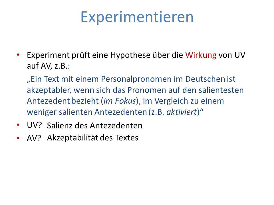 Experimentieren Experiment prüft eine Hypothese über die Wirkung von UV auf AV, z.B.: