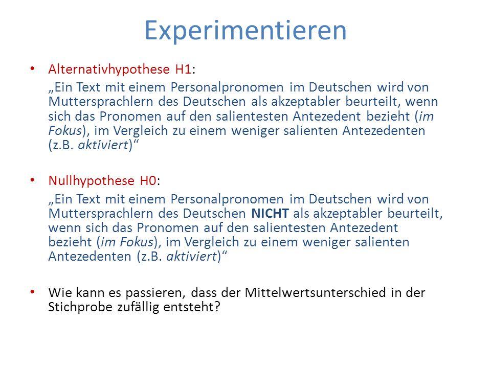 Experimentieren Alternativhypothese H1: