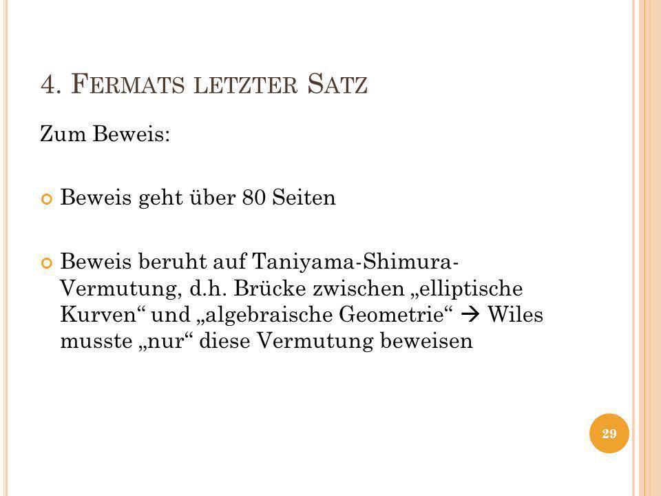 4. Fermats letzter Satz Zum Beweis: Beweis geht über 80 Seiten