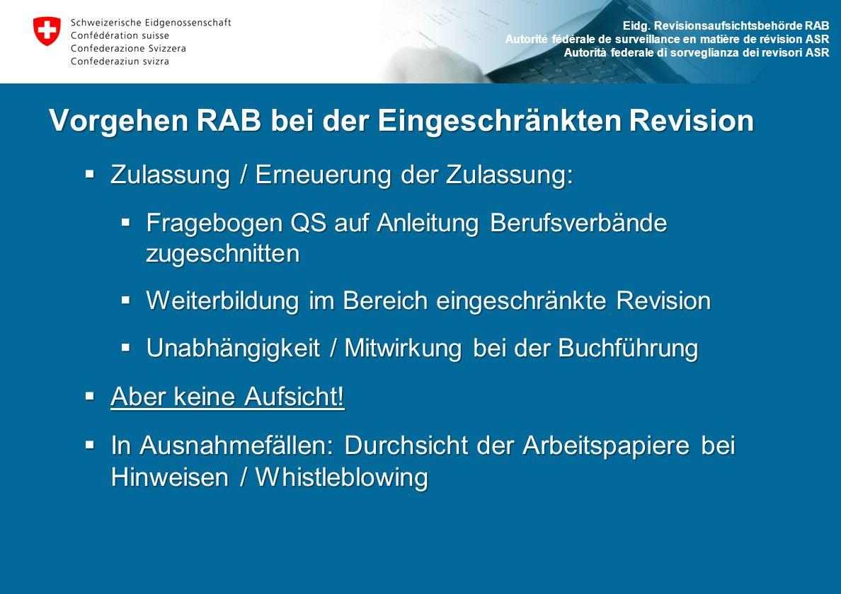 Vorgehen RAB bei der Eingeschränkten Revision