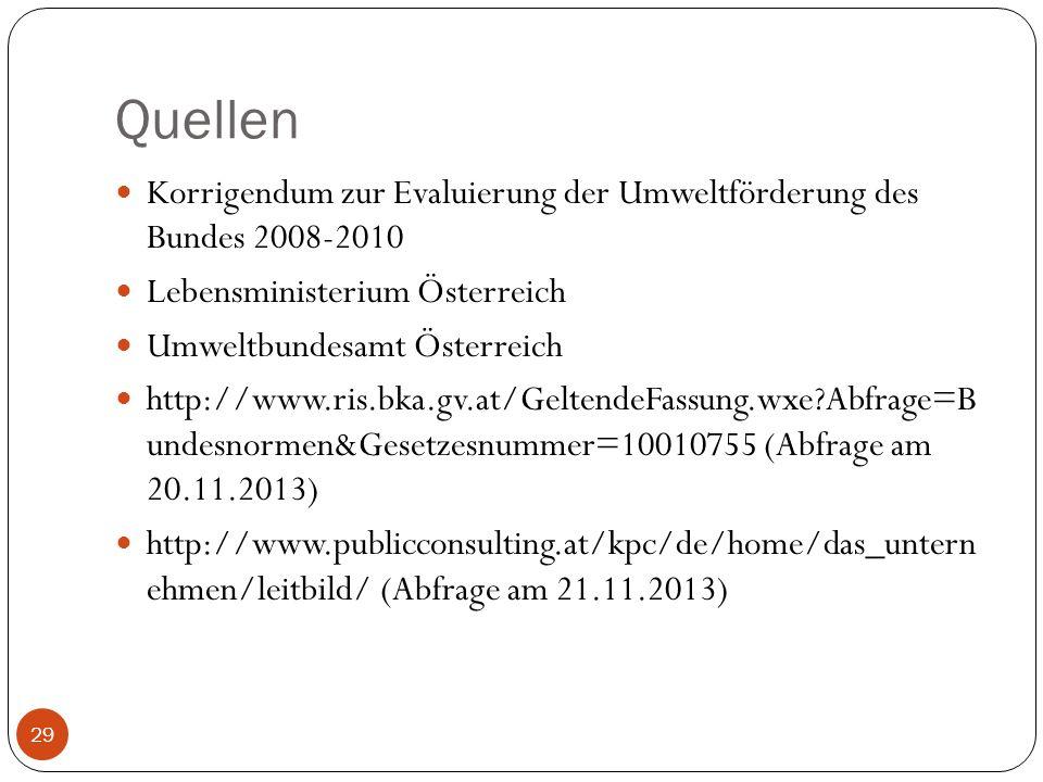 Quellen Korrigendum zur Evaluierung der Umweltförderung des Bundes 2008-2010. Lebensministerium Österreich.