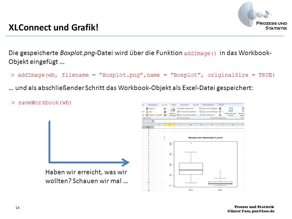 XLConnect und Grafik! Die gespeicherte Boxplot.png-Datei wird über die Funktion addImage() in das Workbook- Objekt eingefügt …