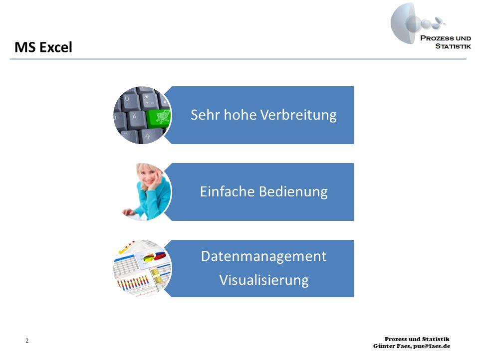 MS Excel Sehr hohe Verbreitung Einfache Bedienung Datenmanagement