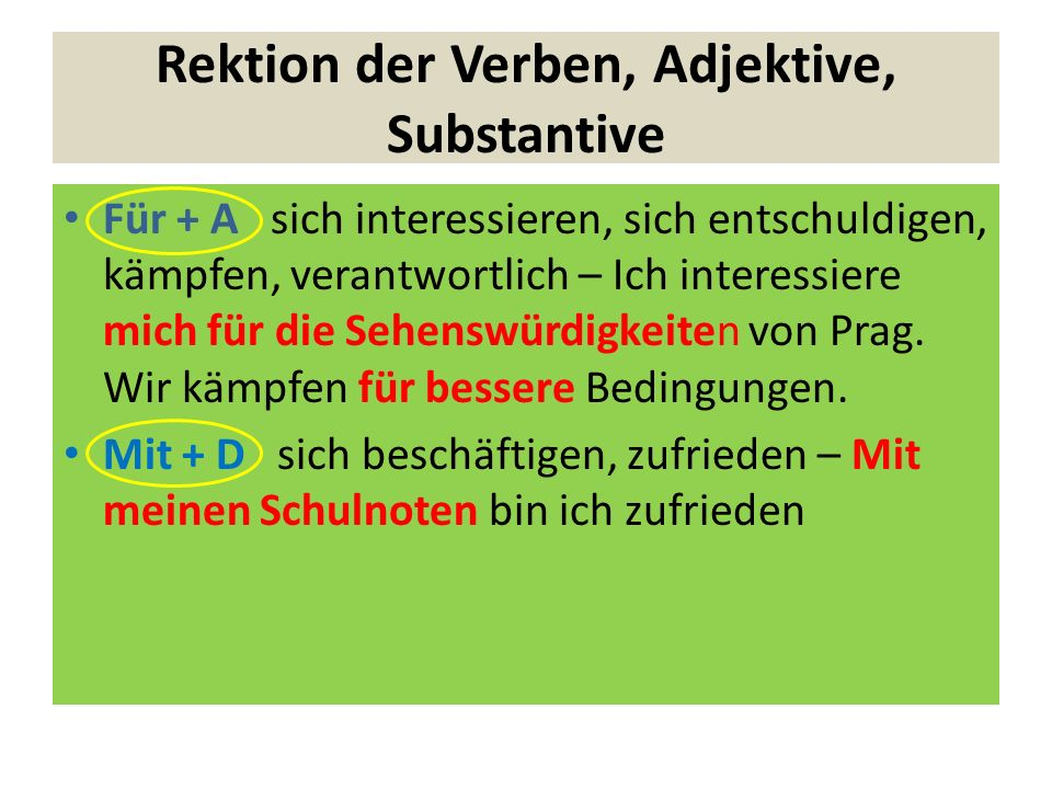 Rektion der Verben, Adjektive, Substantive