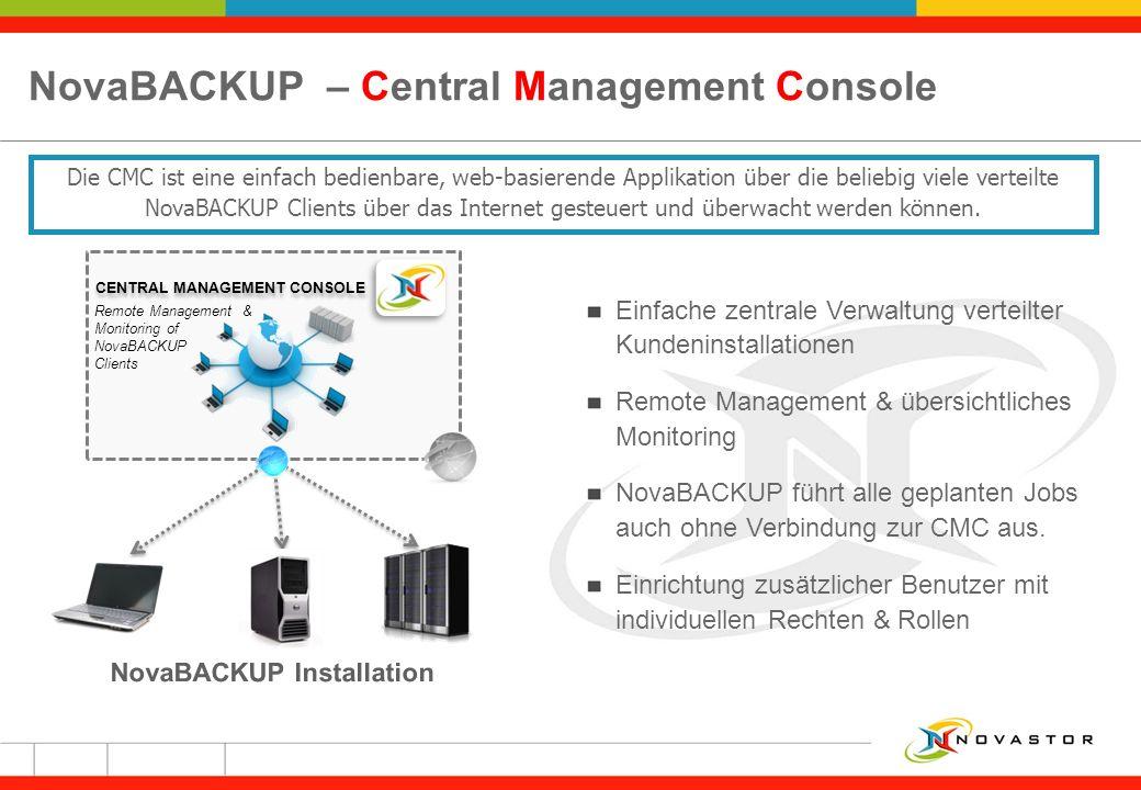 NovaBACKUP – Central Management Console
