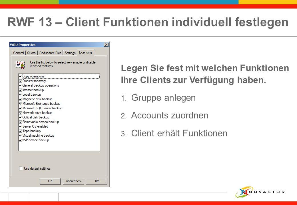 RWF 13 – Client Funktionen individuell festlegen