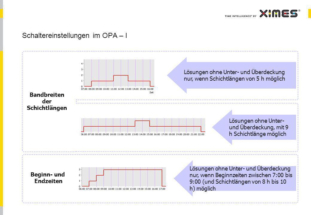 Schaltereinstellungen im OPA – I
