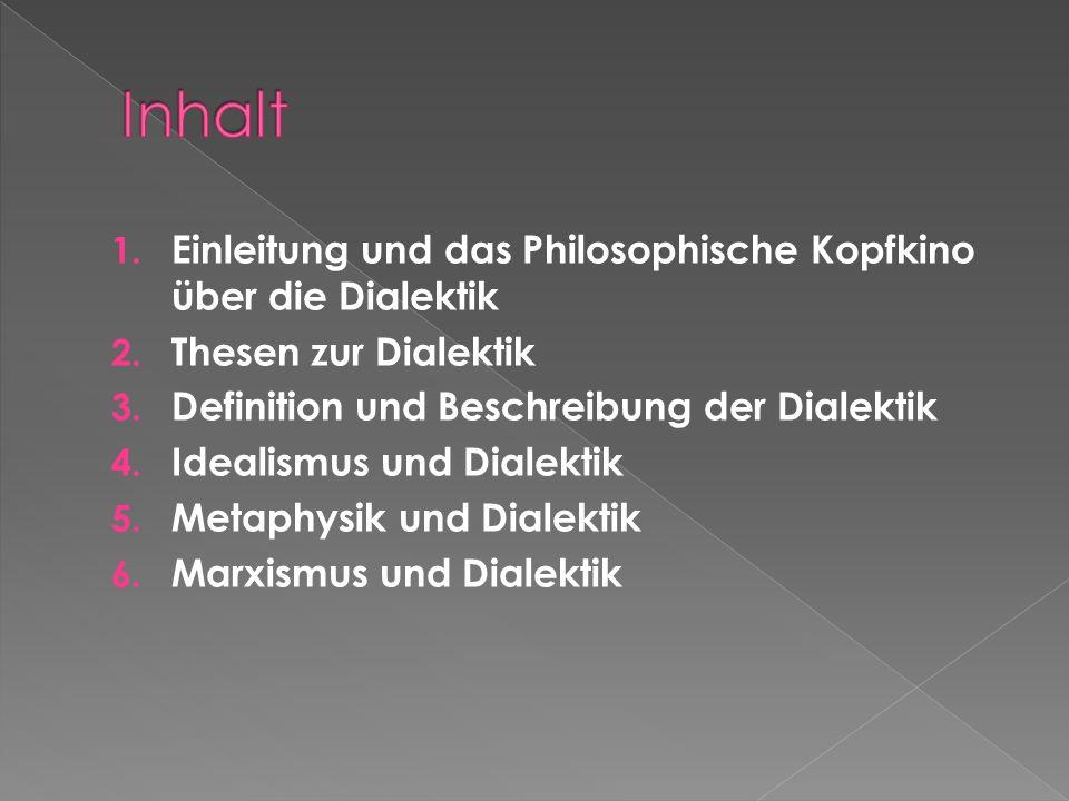 Inhalt Einleitung und das Philosophische Kopfkino über die Dialektik