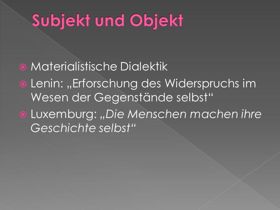 Subjekt und Objekt Materialistische Dialektik