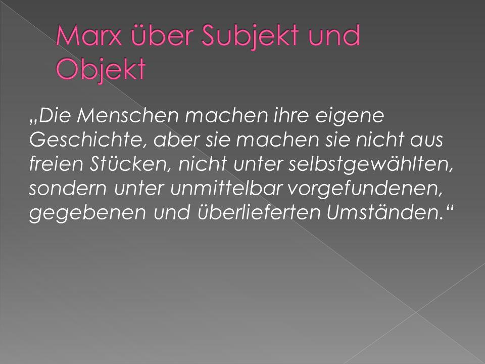 Marx über Subjekt und Objekt