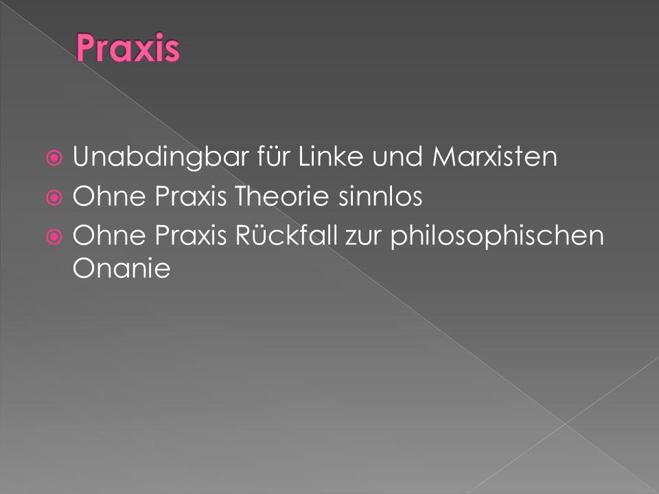 Praxis Unabdingbar für Linke und Marxisten Ohne Praxis Theorie sinnlos