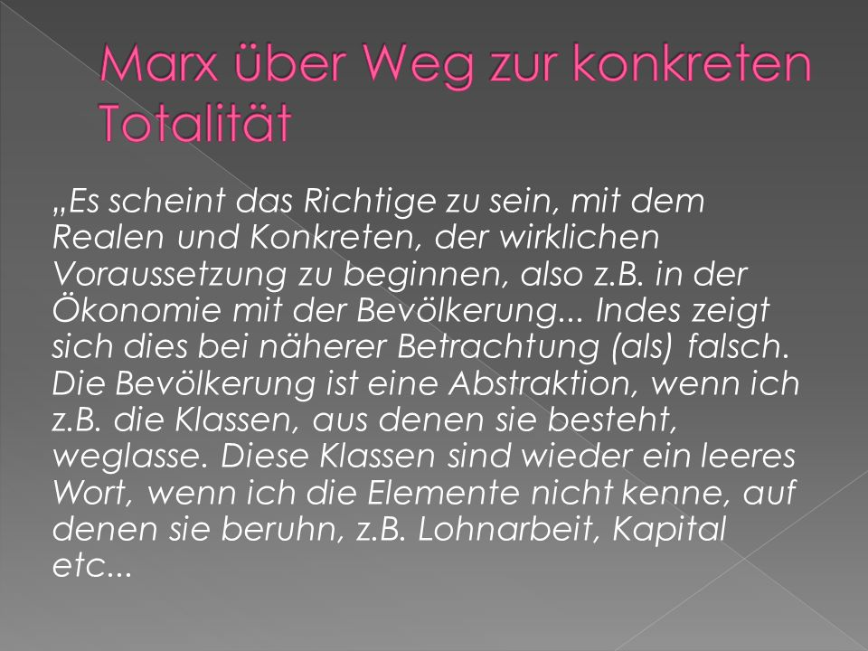 Marx über Weg zur konkreten Totalität