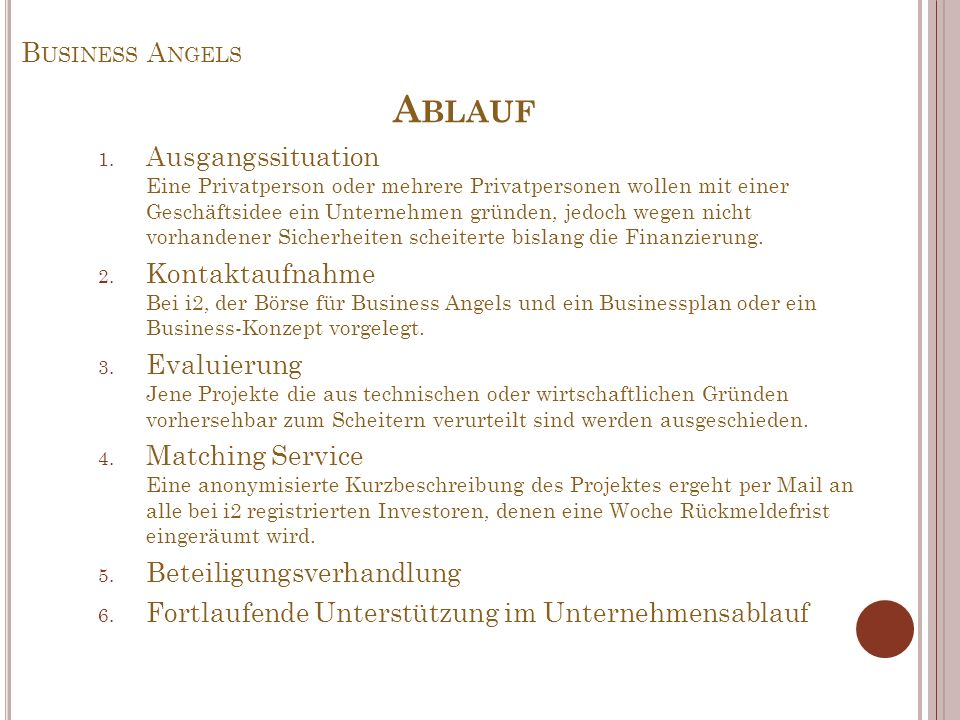 Ablauf Business Angels