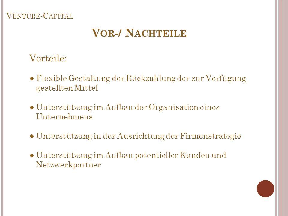 Venture-Capital Vor-/ Nachteile.