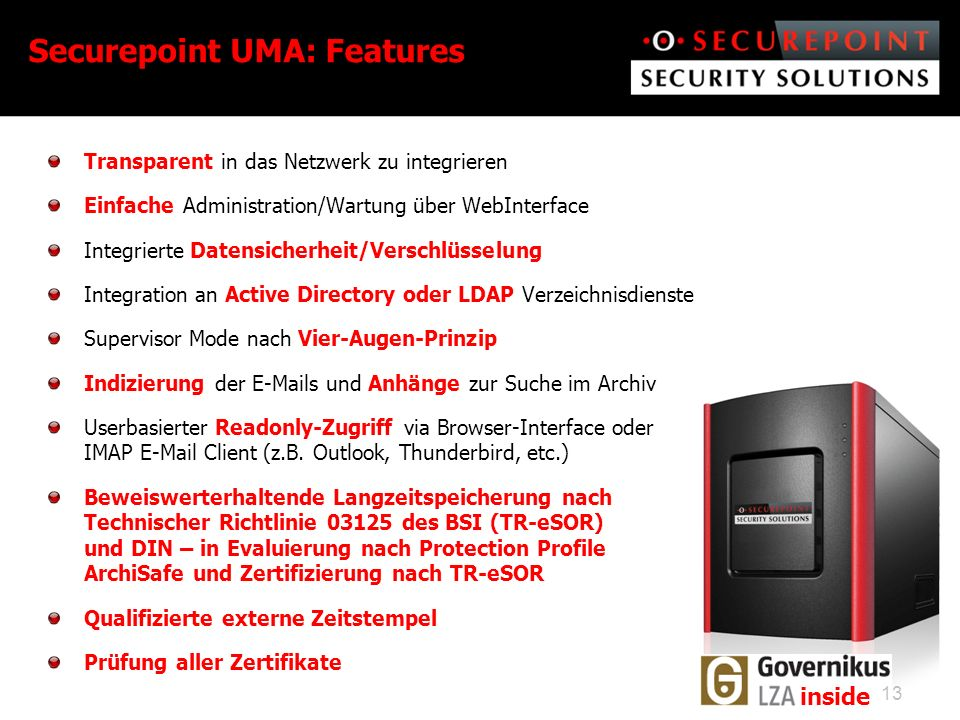 Securepoint UMA: Features