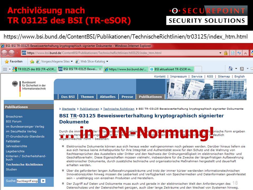 Archivlösung nach TR 03125 des BSI (TR-eSOR)