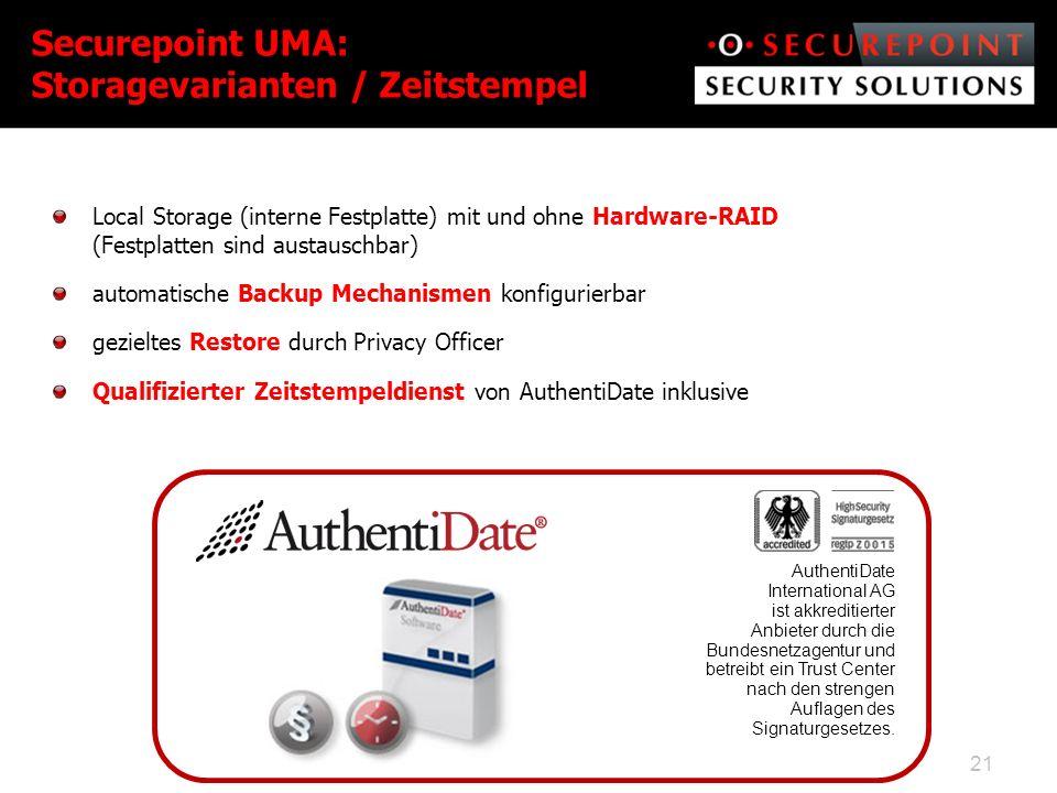Securepoint UMA: Storagevarianten / Zeitstempel